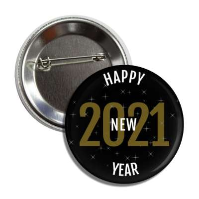 happy new year 2021 black gold white button