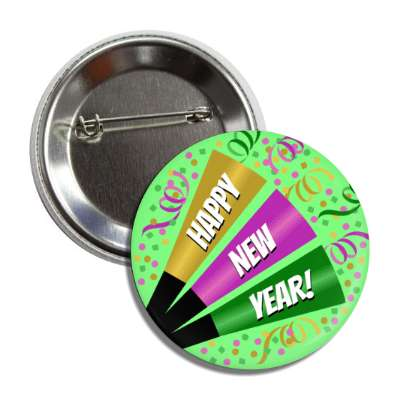 happy new year confetti party horn green button