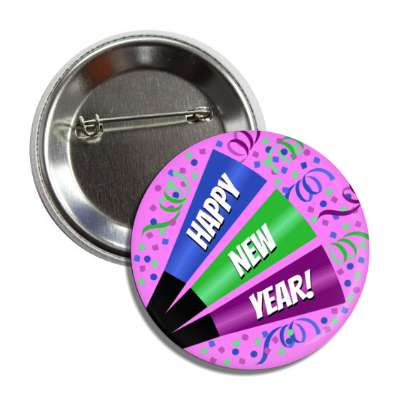 happy new year confetti party horn purple button