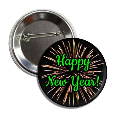 happy new year fireworks green cursive button