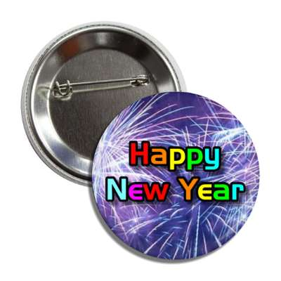 happy new year fireworks rainbow button