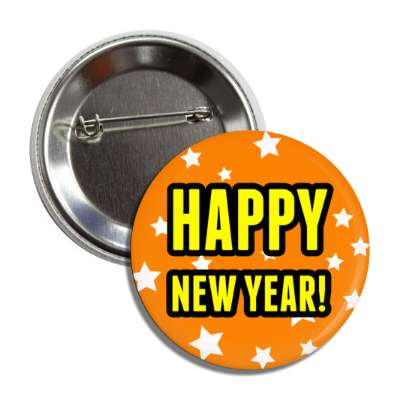 happy new year orange stars button