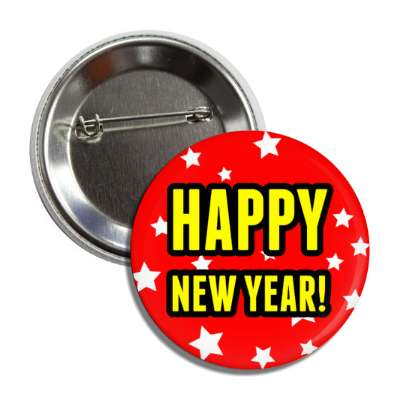 happy new year red stars button
