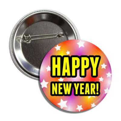 happy new year stars multicolor button