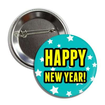 happy new year teal stars button