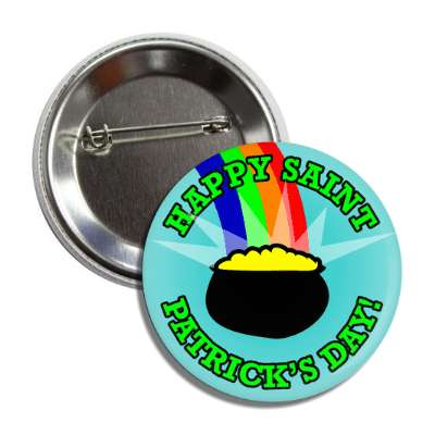 happy saint patricks day rainbow pot of gold button