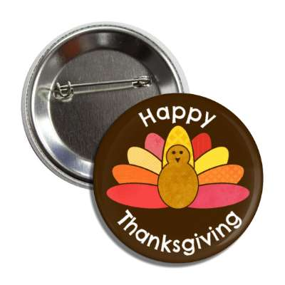 happy thanksgiving black cartoon turkey button