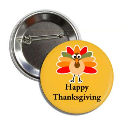 happy thanksgiving cute cartoon turkey orange button