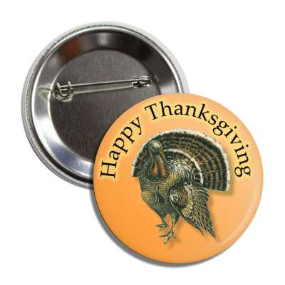 happy thanksgiving turkey orange brown button