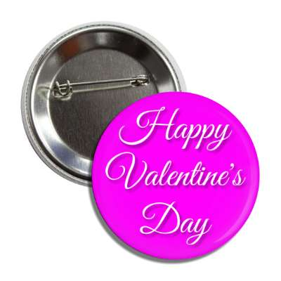 happy valentines day magenta cursive button