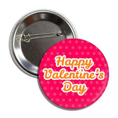 happy valentines day red orange cursive button