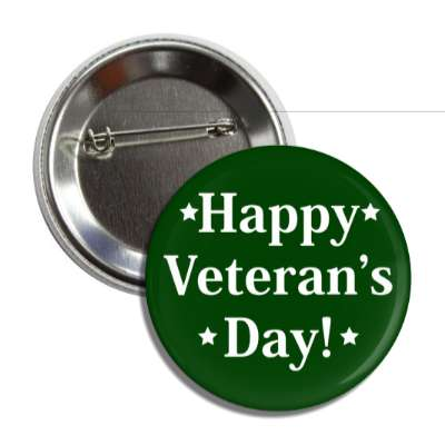 happy veterans day green stars button