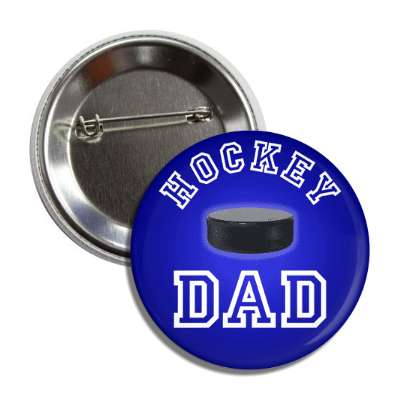 hockey dad blue puck button