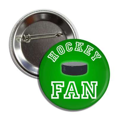 hockey fan green puck button