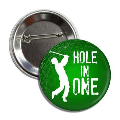 hole in one golfer silhouette button