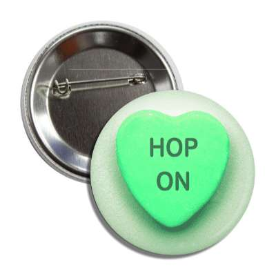 hop on green heart candy button