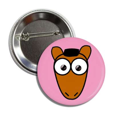 horse cute cartoon button