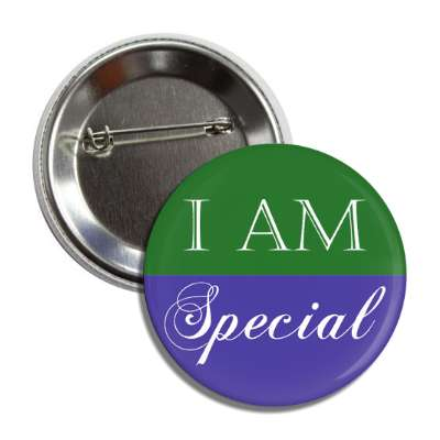 i am special green purple button