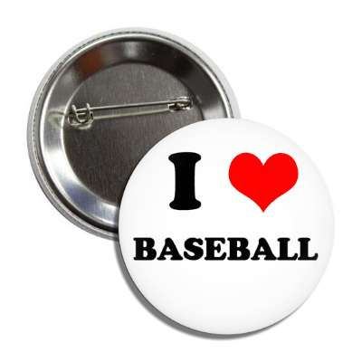 i heart baseball button
