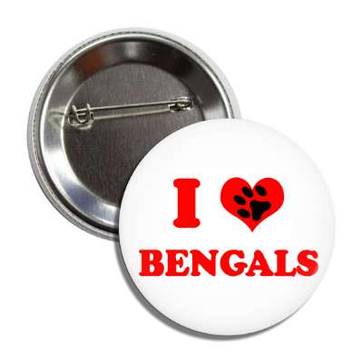 i heart bengals heart paw print button