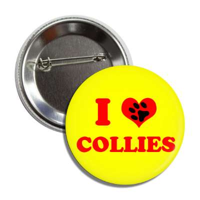i heart collies red heart paw print button