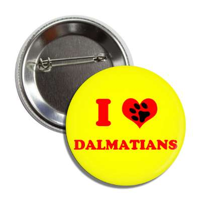 i heart dalmatians red heart paw print button