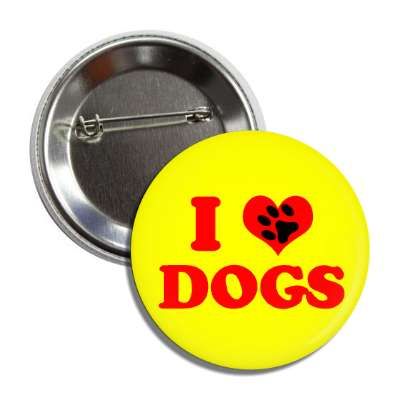 i heart dogs red heart paw print button