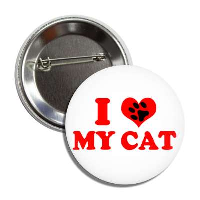 i heart my cat heart paw print button