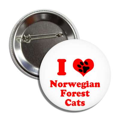 i heart norwegian forest cats heart paw print button