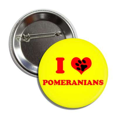 i heart pomeranians red heart paw print button