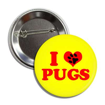 i heart pugs red heart paw print button