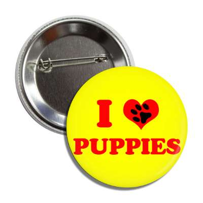 i heart puppies red heart paw print button