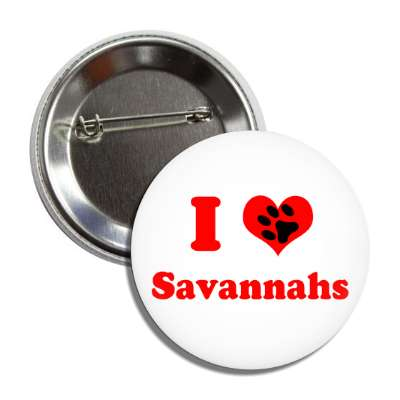i heart savannahs heart paw print button
