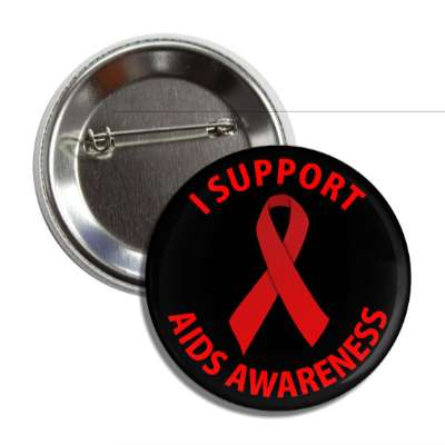 i support aids awareness red ribbon black button