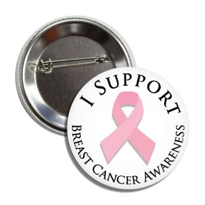 i support breast cancer awareness ribbon pink button