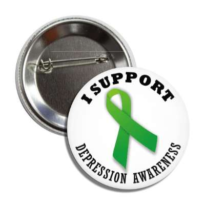 i support depression green awareness ribbon button