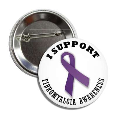 i support fibromyalgia purple awareness ribbon button