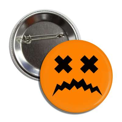 jack o lantern pumpkin face dead sad button