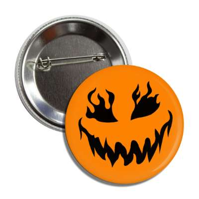 jack o lantern pumpkin face flame eyes button