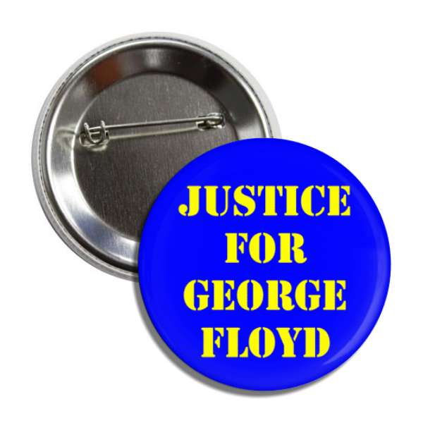 justice for george floyd blue yellow stencil button