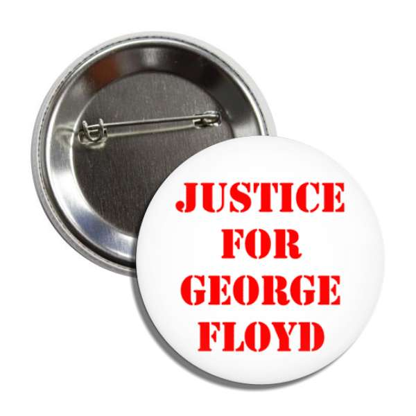 justice for george floyd stencil red white button