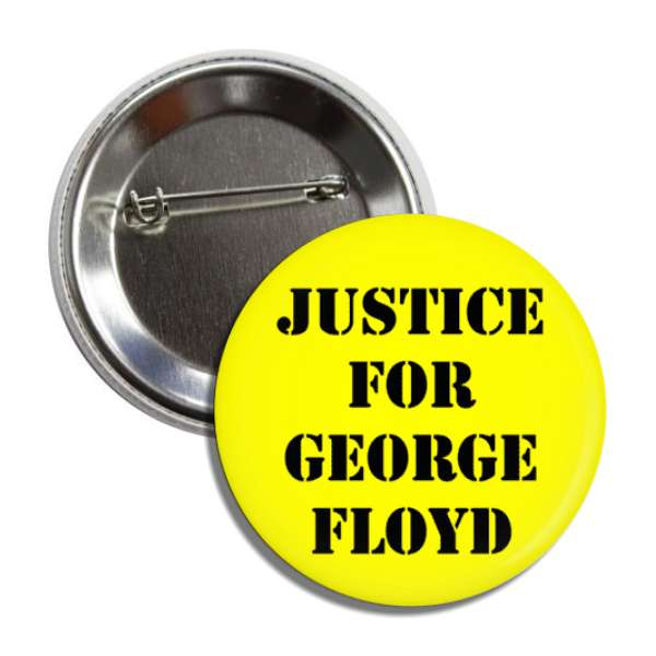 justice for george floyd stencil yellow black button