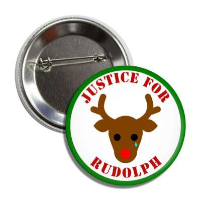 justice for rudolph green border red stencil button