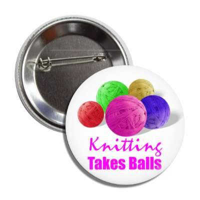 knitting takes balls yarn button