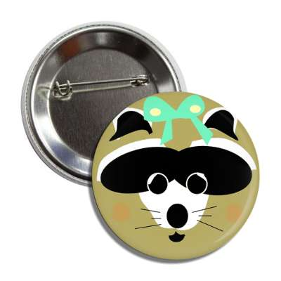 lady raccoon button