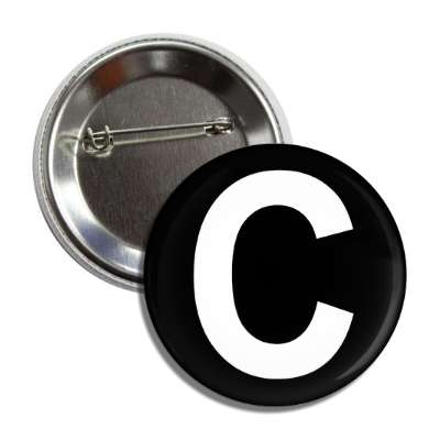 letter c capital black white button