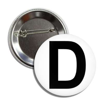 letter d capital white black button