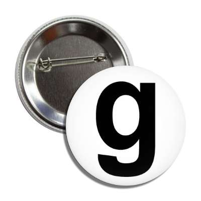 letter g lower case white black button