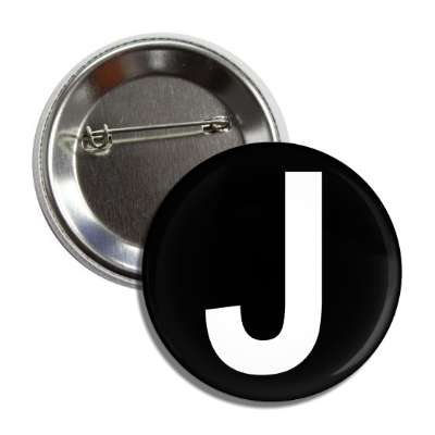 letter j capital black white button