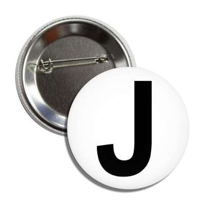 letter j capital white black button